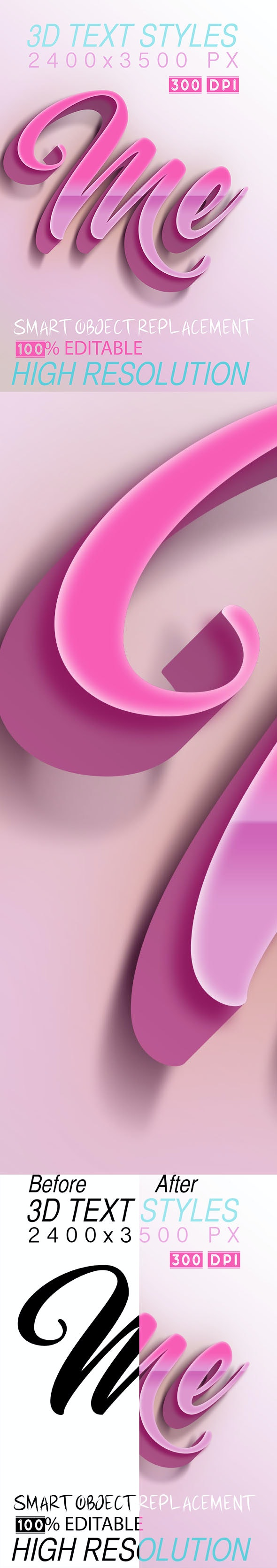 3D Text Pink Styles - Text Effects Styles