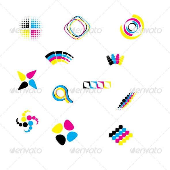 Vector cmyk design elements