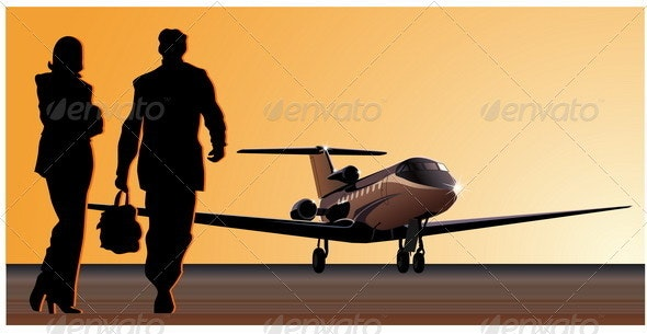 Jetplane at Airfield - Travel Conceptual