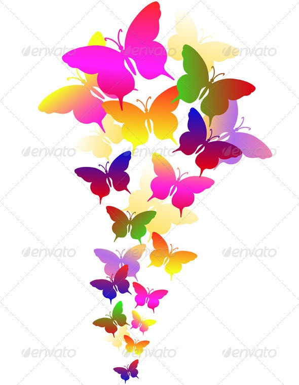 Abstract Background with Butterflies - Abstract Conceptual
