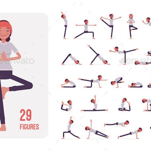 Young Sporty Yogi Woman Practicing Yoga Character
