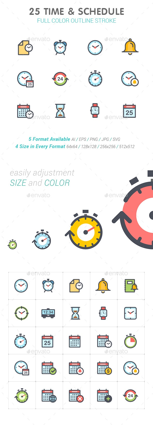 Time & Schedule Line with Color - Business Icons