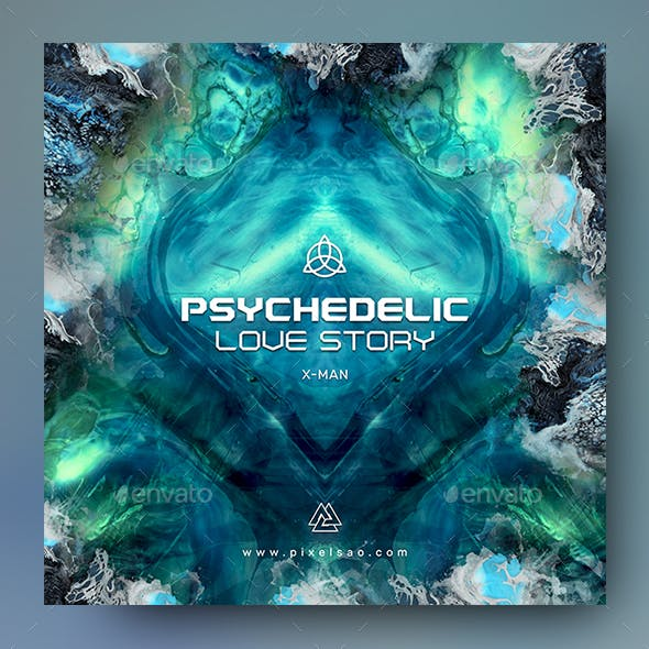 Psychedelic Love – Psytrance Album Cover Template