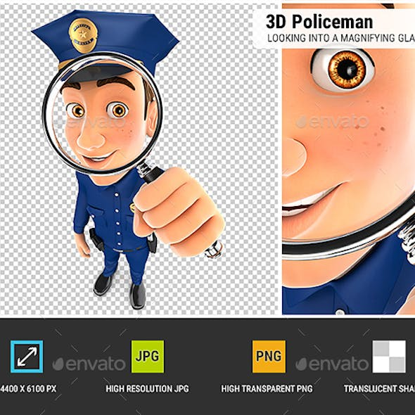 3D Policeman Looking into a Magnifying Glass