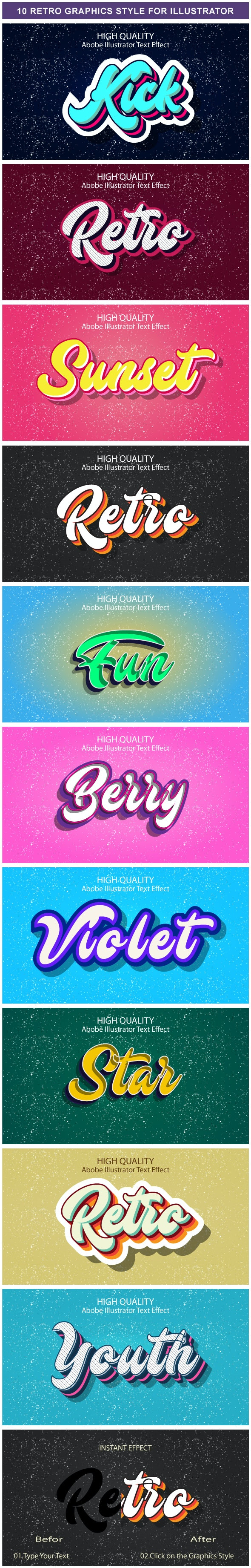 10 Different Retro Graphic Styles for Adobe Illustrator - Styles Illustrator
