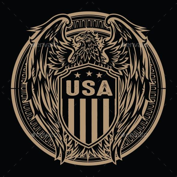 Eagle Flag USA Vector Illustration