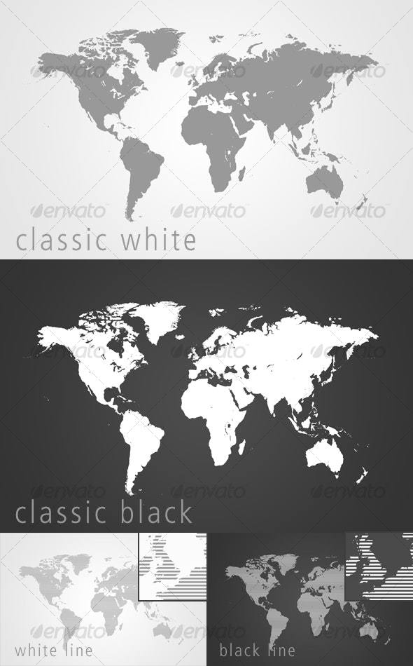 World Map - Classic Black / White and Lined