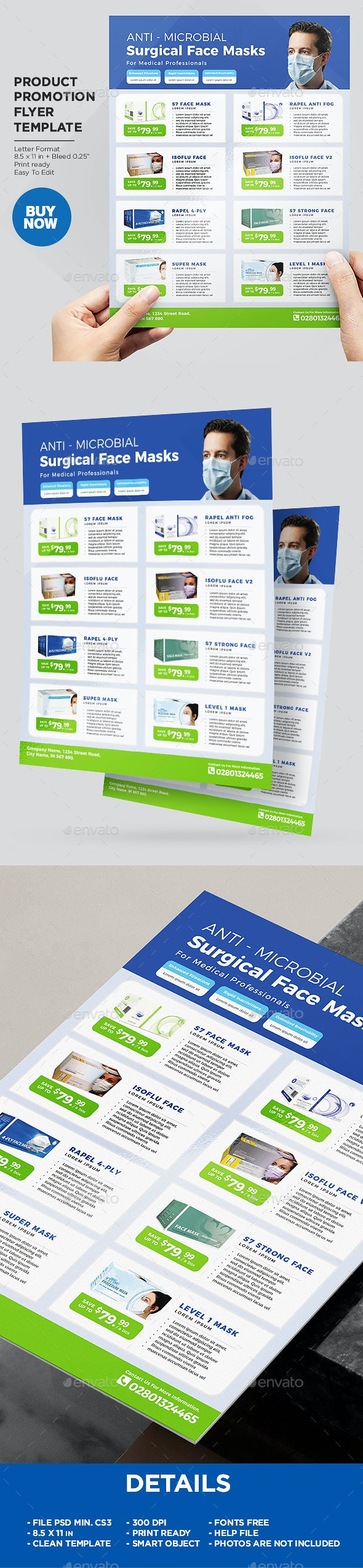Product Flyer - Medical Disposable Face Masks / Surgical Masks - Corporate Flyers