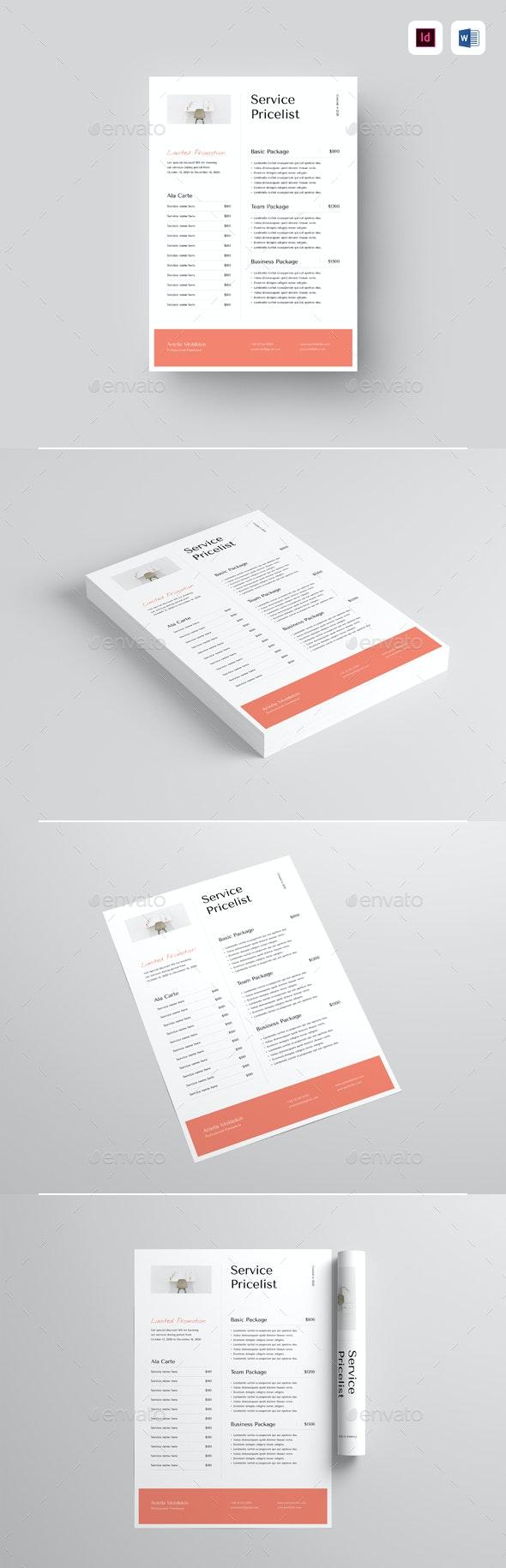 Service Pricelist - Corporate Flyers