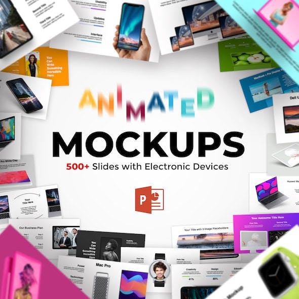 2 in 1. 600+ Animated Mockups & Diagrams Infographics. PowerPoint Presentation.