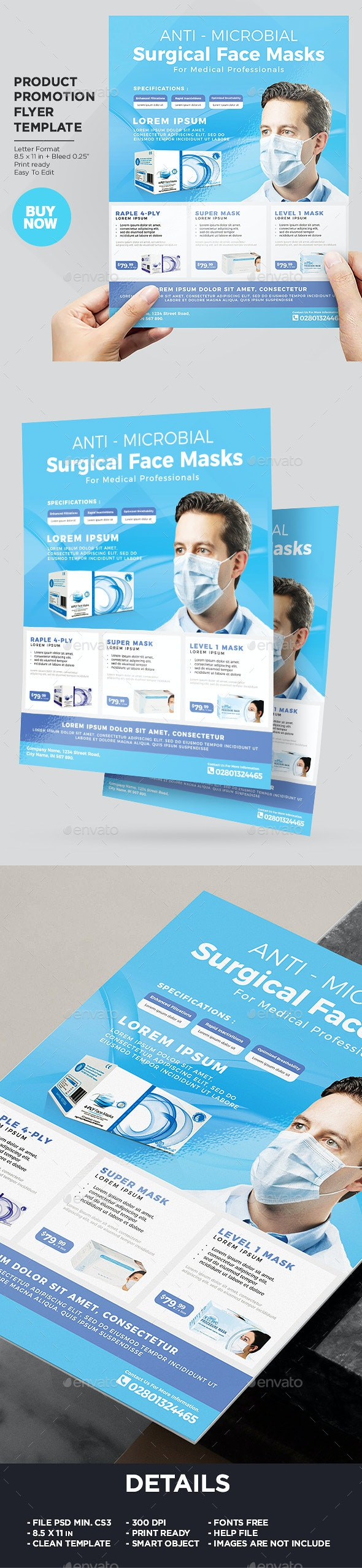 Product Flyer Template - Medical Disposable Face Masks / Surgical Masks - Corporate Flyers