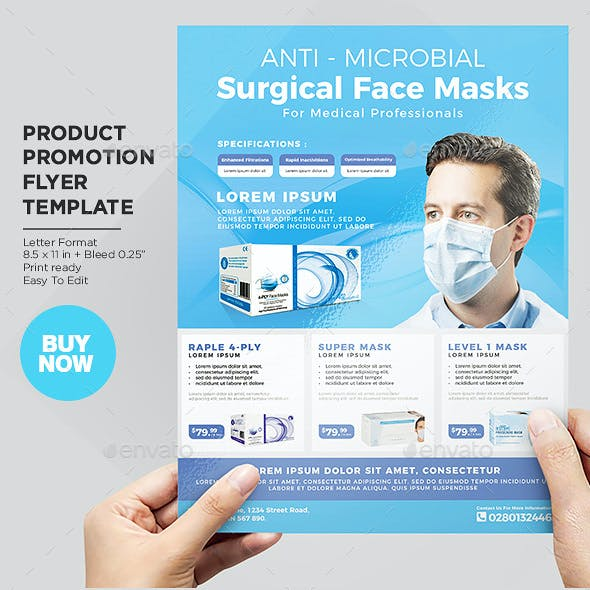 Product Flyer Template - Medical Disposable Face Masks / Surgical Masks