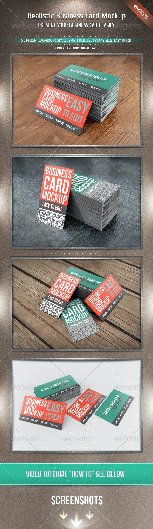 Realistic Business Card Mockup - Business Cards Print