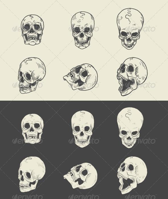 Hand drawn Skulls - Tattoos Vectors