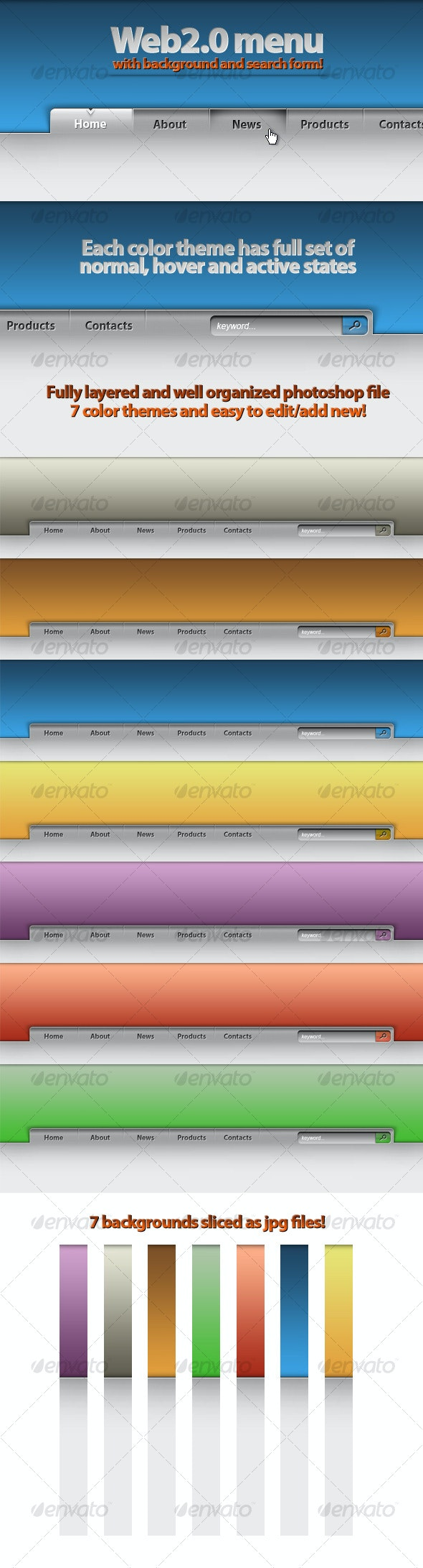 Web2.0 Menu and Search Form + Backgrounds! - Web Elements