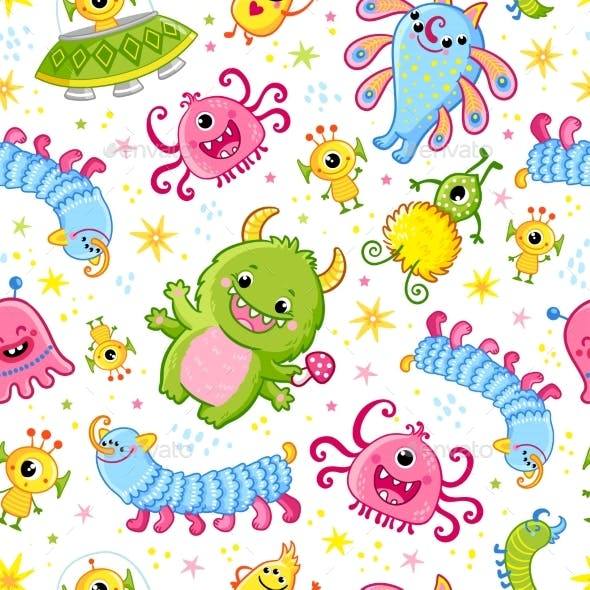 Pattern with Aliens Vector Seamless