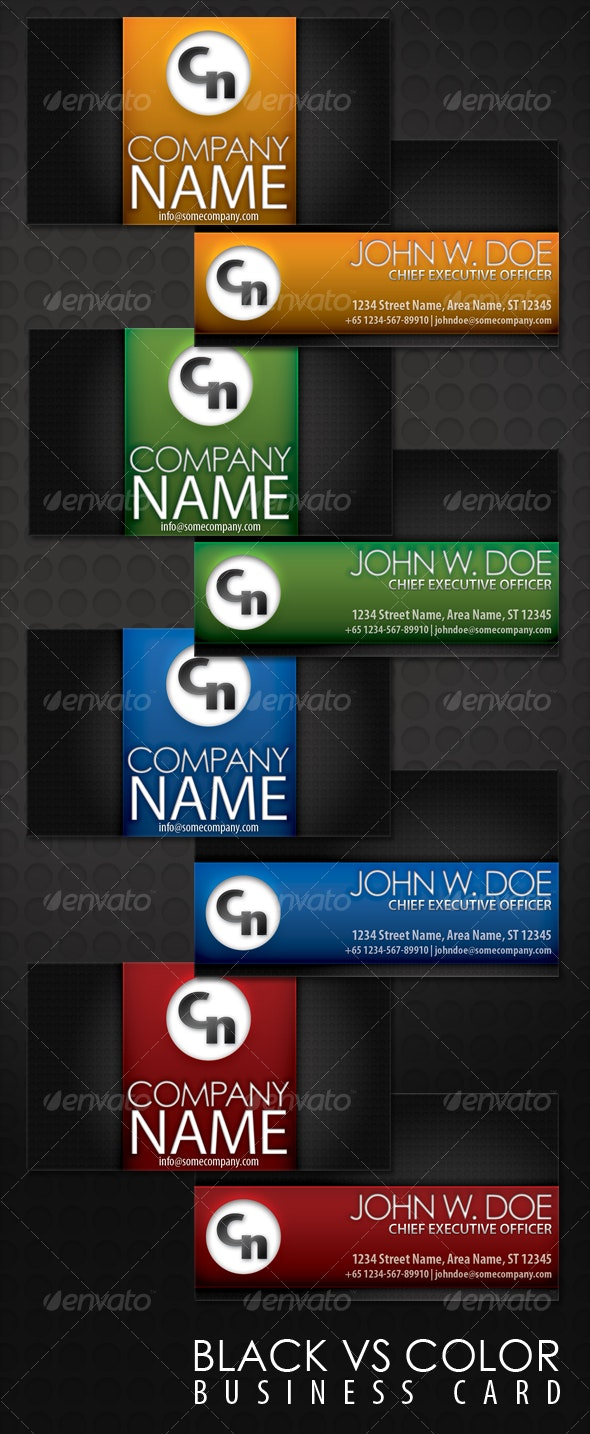 Black Vs Color Business Card - Corporate Business Cards