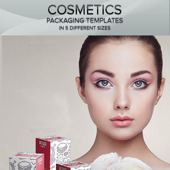 Cosmetics Box Packaging Templates - 5 Sizes