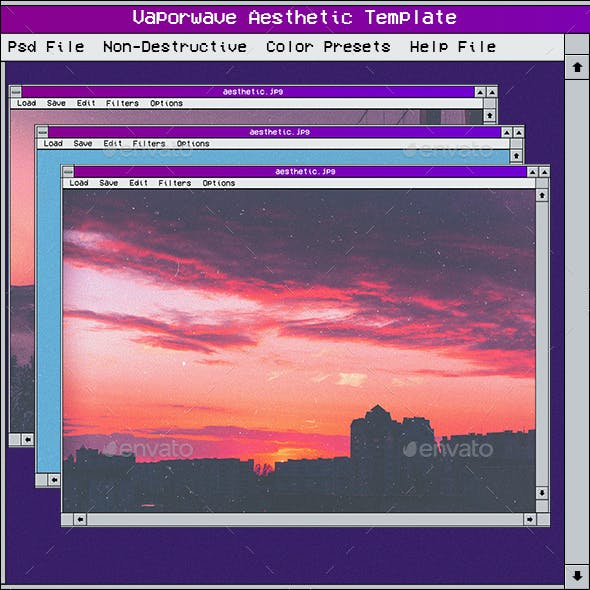 Vaporwave Aesthetic Photo Template