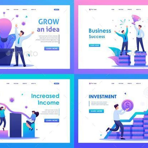 Increased Income, Business Success, Investment. Flat 2D Concepts