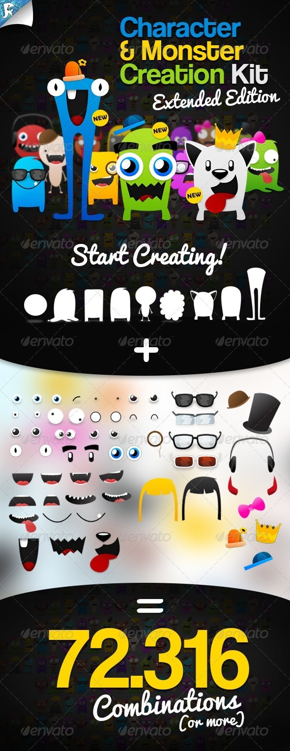 Character & Monster Creation Kit – Create us - Characters Vectors