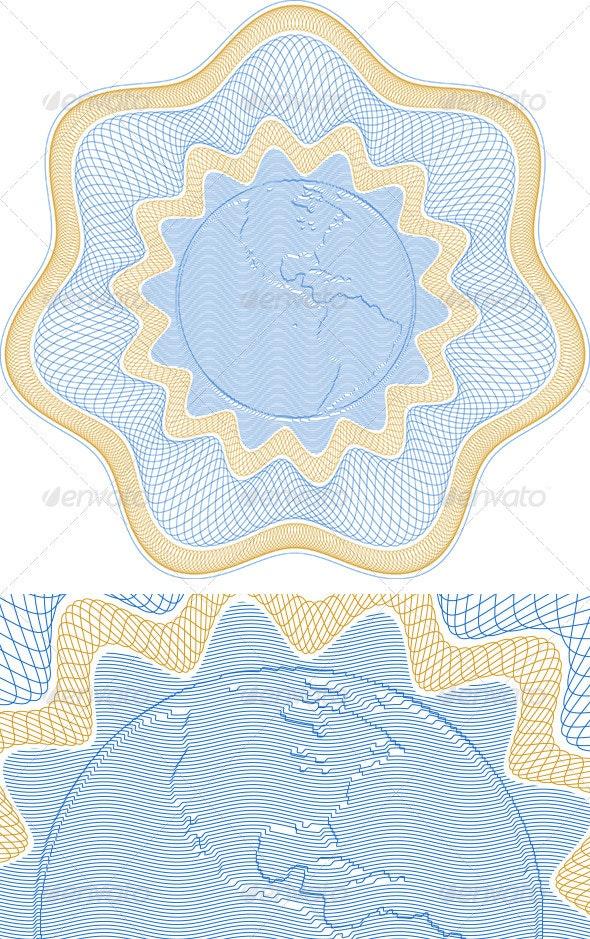 Embossed Globe Rosetta - Decorative Symbols Decorative