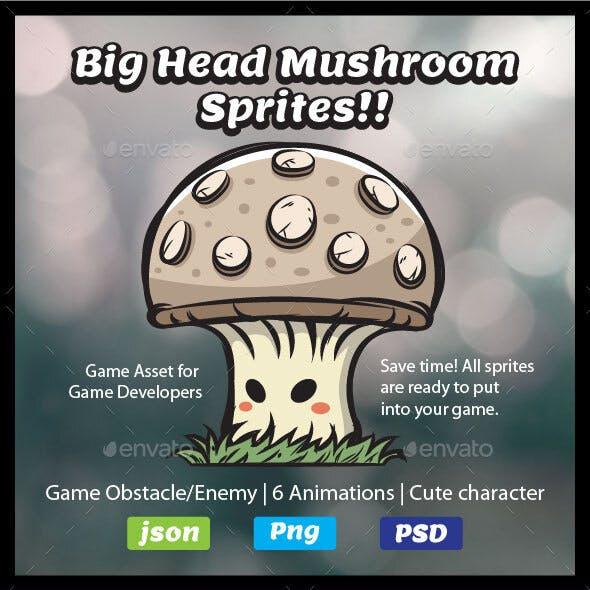 Mushroom Sprites | 2D Game Asset Obstacle | Game Enemy
