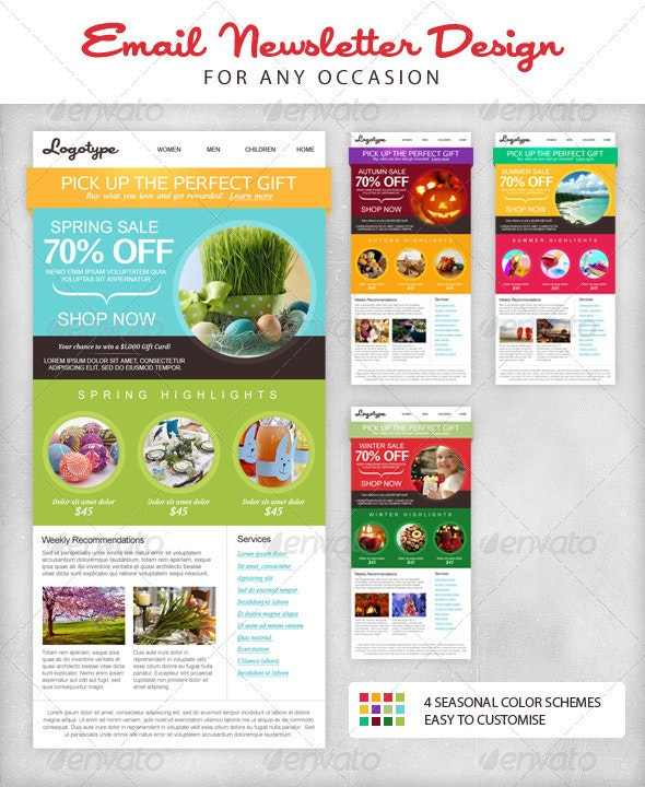 Seasonal Email Newsletter Template - E-newsletters Web Elements