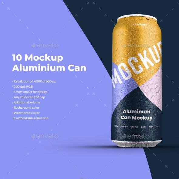 10 Mockup Aluminium Can 500 ml With Water Drops