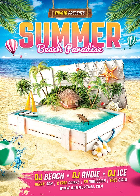 Tropical Summer Beach Flyer - Flyers Print Templates