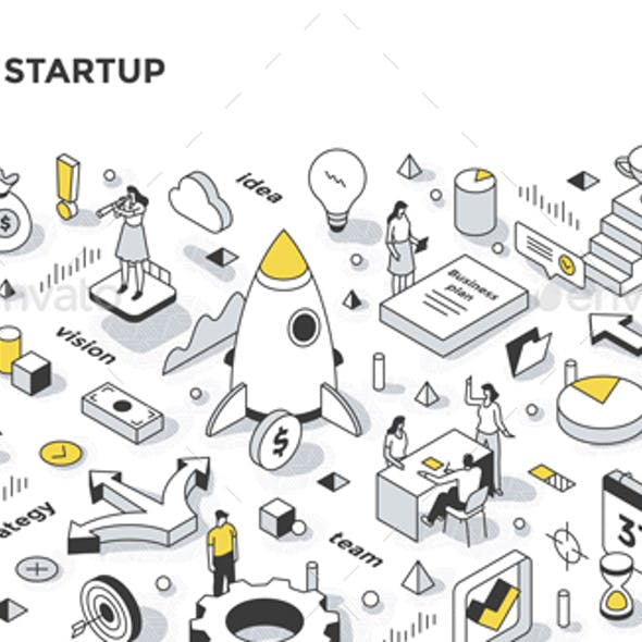 Business Startup Isometric Outline Illustration