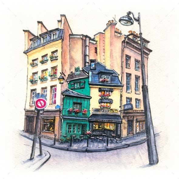 Typical Parisian House, France - Scenes Illustrations
