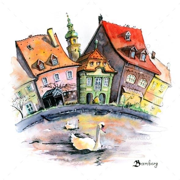 Watercolor Sketch of Bamberg