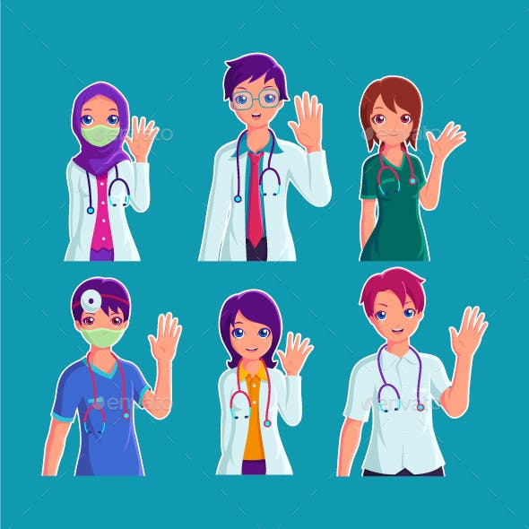 Doctors and Medical Staff Characters Collection Set