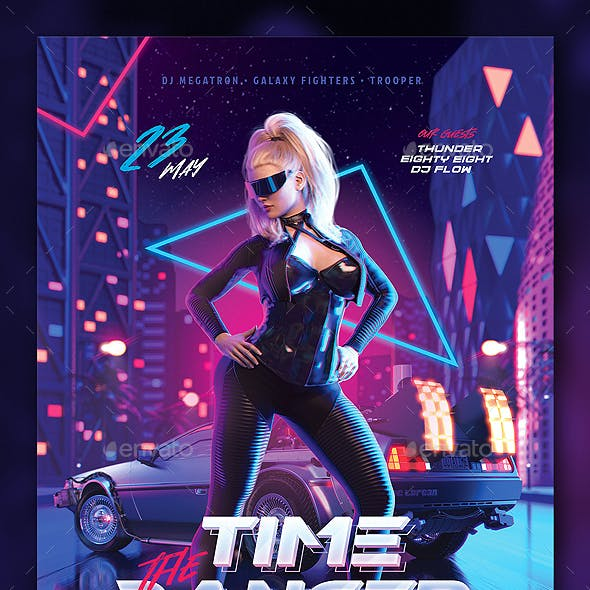 Party Flyer Time Dancer Synthwave Retrowave 80s