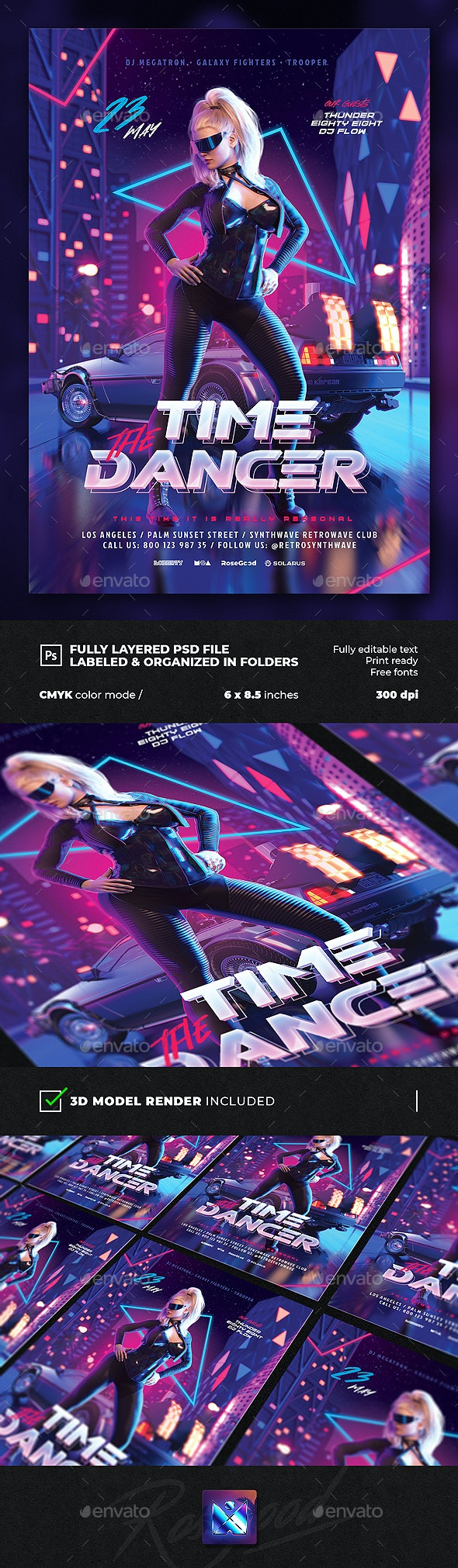 Party Flyer Time Dancer Synthwave Retrowave 80s - Events Flyers