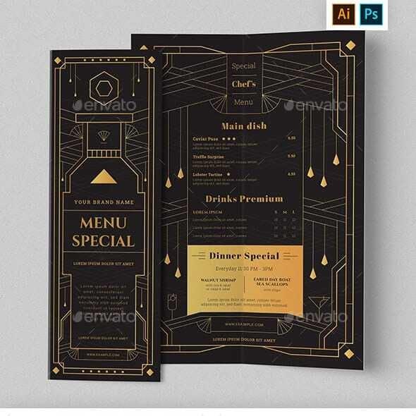 Bi-Fold Menu with Art Deco Style