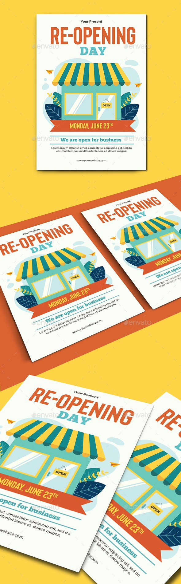 Re-opening Business Flyer Template - Commerce Flyers