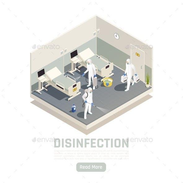 Hospital Disinfection Isometric Background