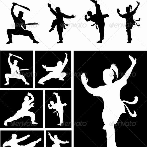 Kung Fu silhouette vectors