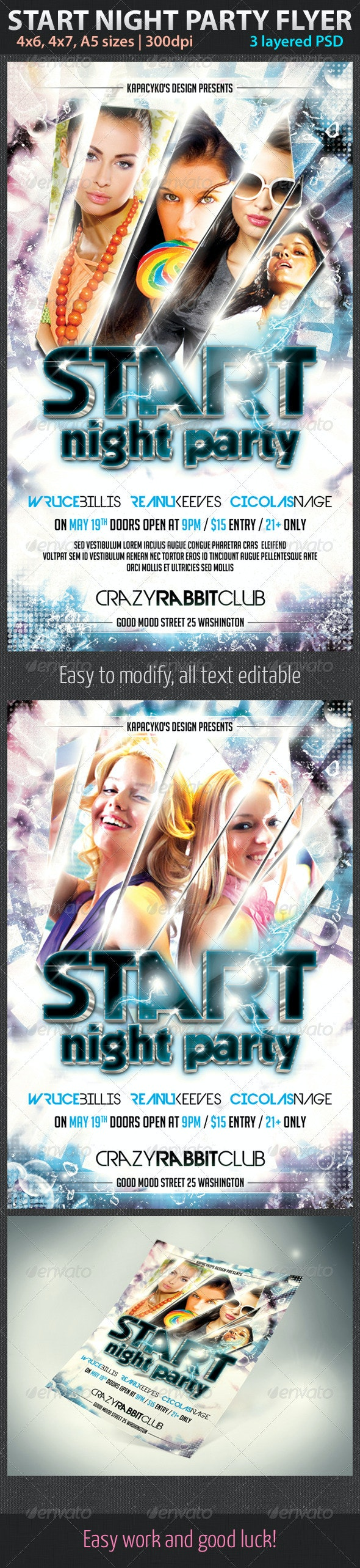 Start Night Party Flyer - Clubs & Parties Events