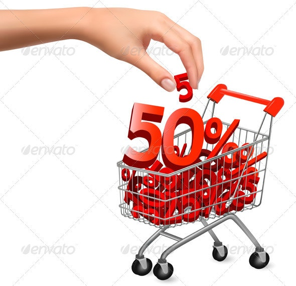 Shopping cart with sale  Vector illustration - Concepts Business
