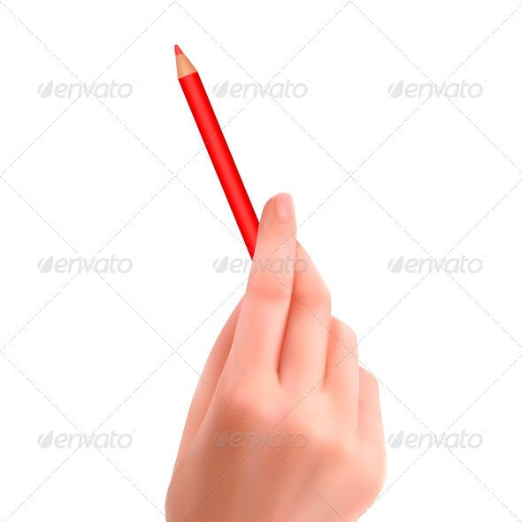 Hand with pen writing on paper  Vector illustratio