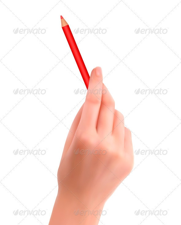 Hand with pen writing on paper  Vector illustratio - People Characters