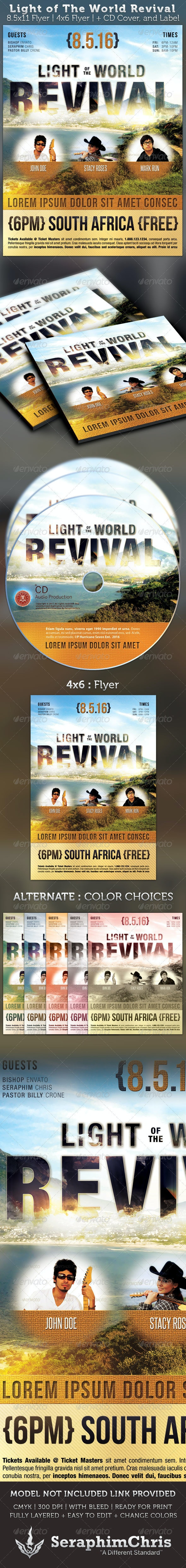 Light of The World Revival Flyer and CD Template - Church Flyers