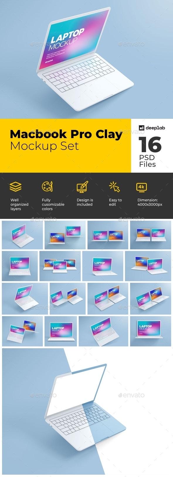 Macbook Pro Clay Mockup Set - Product Mock-Ups Graphics