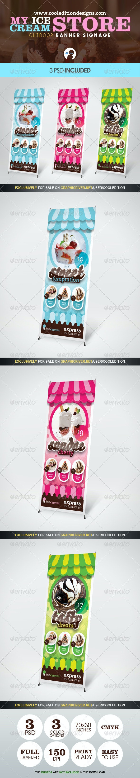 My Ice Cream Store - Outdoor Banner Signage - Signage Print Templates