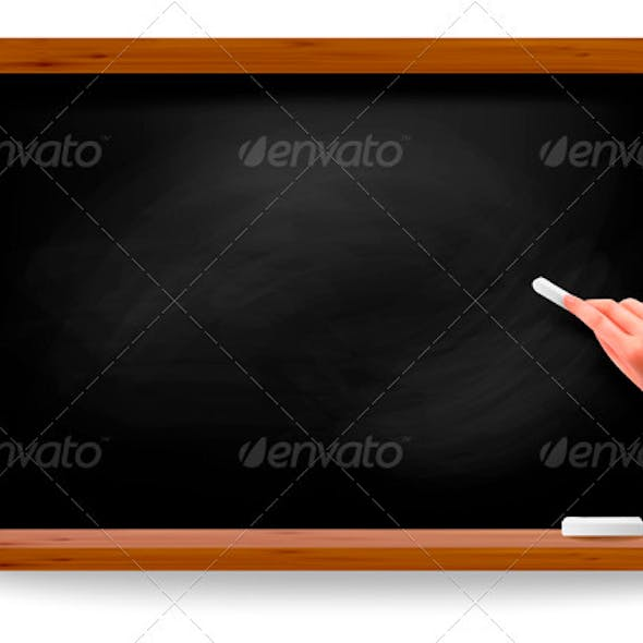 Hand writing on a blackboard. Vector