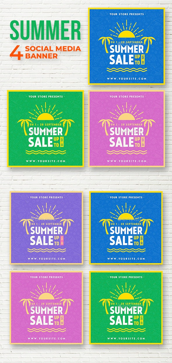 Summer Sale - Social Media banner - Social Media Web Elements