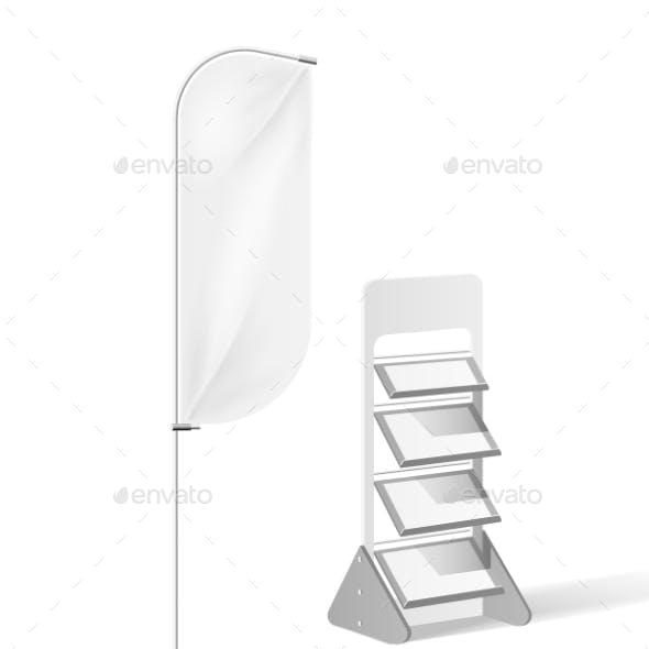 Vector Exhibition Banner Flag Display Shelves